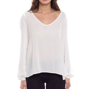 Coveted Clothing White Open Long Sleeve Top - S